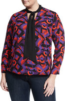 Vince Camuto Long-Sleeve Graphic Tee, Geo Purple, Plus Size