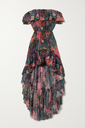 Dundas Off-the-shoulder Ruffled Printed Metallic Fil Coupe Silk-blend Georgette Dress - Black