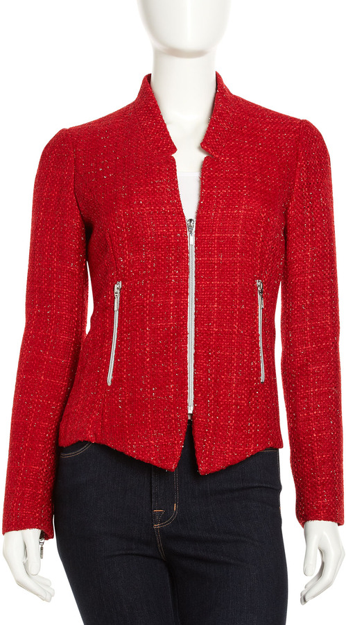 Neiman Marcus Red Angled Tweed Zip Jacket