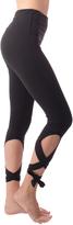 Gaiam Black Om High Rise Violet Ballet Leggings - Women