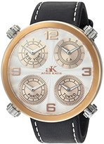 Adee Kaye Men's Quartz Stainless Steel and Leather Dress Watch, Color:Black (Model: AK2275-MRGSV)