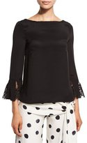 Oscar de la Renta Lace-Trim Bateau-Neck Blouse, Black