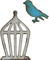SIZZIX Sizzix Movers & Shapers Magnetic Dies by Tim Holtz 2-pk. Mini Bird & Cage