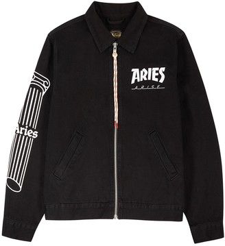 Aries Column Black Logo-print Denim Jacket