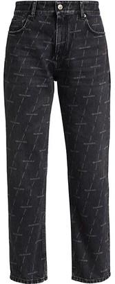 Balenciaga Logo-Print Cropped Jeans