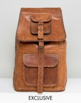 Reclaimed Vintage Inspired Leather Backpack In Brown