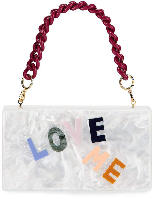 Edie Parker Jean Love Me Acrylic Clutch Bag with Chain Handle
