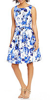 Jessica Howard Belted Floral-Print Fit-and-Flare Dress
