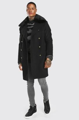 boohoo Mens Black Faux Fur Collar Military Style Overcoat, Black