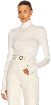 Enza Costa Tencel Cashmere Rib Long Sleeve Fitted Turtleneck Sweater in Winter White | FWRD