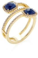 Meira T 14K Yellow Gold, Blue Sapphire & 0.36 Total Ct. Diamond Wraparound Ring