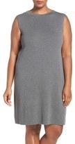 Eileen Fisher Plus Size Women's Wool Crepe Funnel Neck Knee Length Shift Dress
