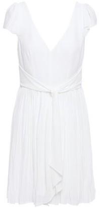Cinq à Sept Genesis Tie-front Pleated Crepe Mini Dress