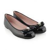 Pretty Ballerinas Pretty BallerinasBlack Leather Hermione Shoes With Bow