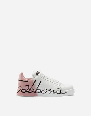 Dolce & Gabbana Leather Portofino Sneakers With Metallic Heel