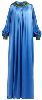 Andrew Gn Crystal Embellished Silk Blend Satin Gown - Womens - Blue Multi