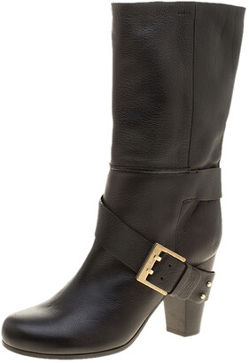 Chloé Black Leather Mid-Calf Buckle Boots Size 37