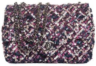 Chanel Pink & Purple Sequin Cc Classic Flap Bag