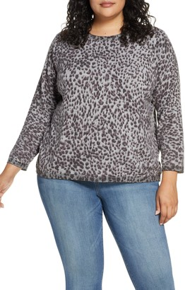 Wit & Wisdom Animal Print Back Button Sweater