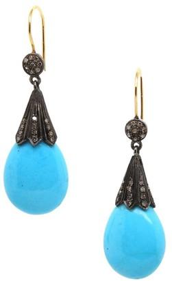 Nina Gilin 14K Yellow Gold, Black Rhodium, Turquoise & Diamond Teardrop Earrings
