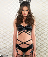 Leg Avenue Satin Bra And Panty Set Lingerie - Women's