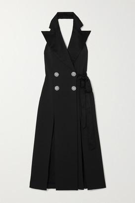 ATTICO Crystal-embellished Cotton Wrap Midi Dress - Black