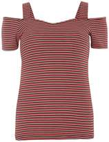 Dorothy Perkins Red stripe textured baredot top