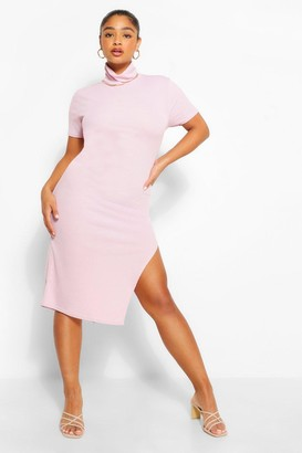 boohoo Plus Rib High Neck Midi Dress