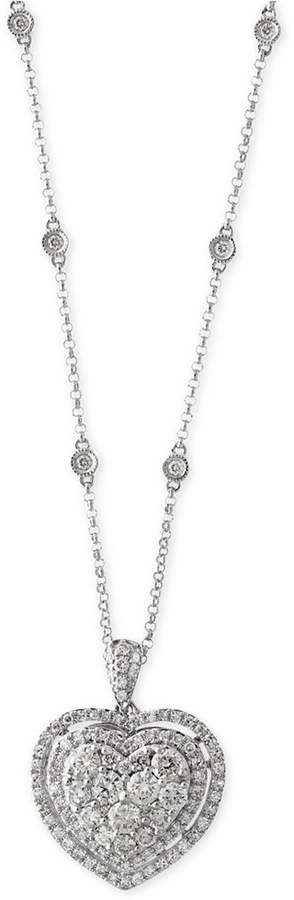 Effy Bouquet by Diamond Heart Pendant Necklace (1-1/8 ct. t.w.) in 14k White Gold