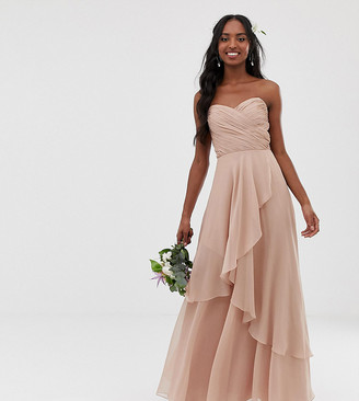 Asos Tall DESIGN Tall Bridesmaid maxi bandeau dress with soft layered skirt-Pink