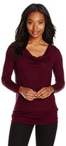 Three Dots Women's Double Sided Long Sleeve Cowl Neck Top
