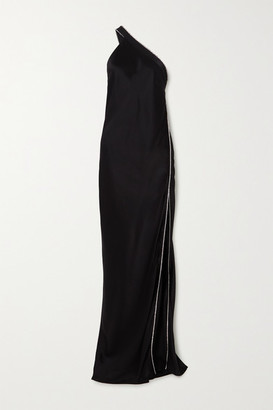 Mason by Michelle Mason One-shoulder Crystal-embellished Silk-satin Gown - Black
