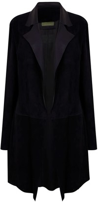 Zut London Long Classic Suede Leather Jacket With Side Pockets - Black