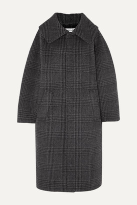 Balenciaga Incognito Prince Of Wales Checked Wool-blend Coat - Anthracite