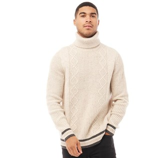 Ted Baker Mens Son Chunky Roll Neck Jumper Natural