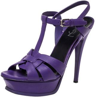 Saint Laurent Paris Purple Leather Tribute Platform Ankle Strap Sandals Size 38.5