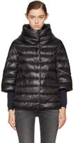 Herno Black Down Three-Quarter Cocoon Jacket