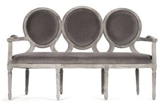 """Zentique 61.5"""" W Recessed Arm Settee Upholstery Color: Gray"""