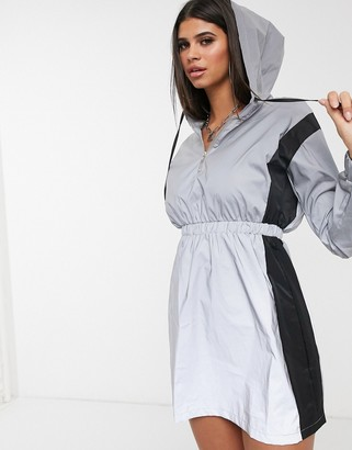 Daisy Street reflective hoody dress with contrast panels