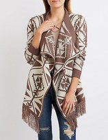 Charlotte Russe Aztec Fringed Cascade Cardigan