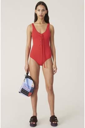 Ganni Textured Swimwear Tie-Front Swimsuit