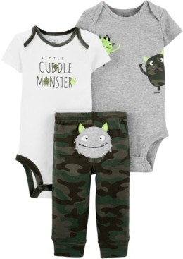 Carter's Baby Boys 3-Pc. Cuddle Monster Cotton Bodysuits & Pants Set