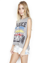 Lauren Moshi Kinzington Vintage Crop Muscle Tee in Heather Grey