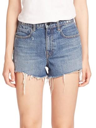 Alexander Wang Bite High-Rise Frayed Denim Shorts