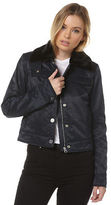 Cheap Monday New Women's Plot Jacket Long Sleeve Pu Blue
