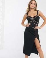 Asos Design DESIGN Premium chain harness structured midi bodycon dress