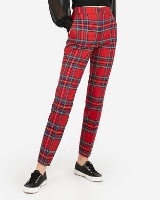 Express High Waisted Red Plaid Ankle Pant