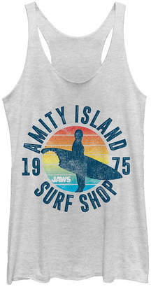 Fifth Sun Jaws Amity Island Surf Shop 1975 Retro Logo Tri-Blend Racer Back Tank