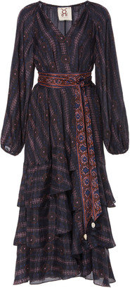 Figue Kira Ruffled Printed Silk-Georgette Midi Dress