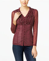 INC International Concepts Petite Ruffled Polka-Dot Blouse, Only at Macy's